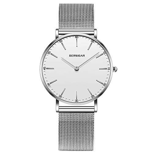 Reloj analógico Mujer de Bersigar, Resistente al Agua, con Correas de Acero Inoxidable, Estilo Minimalista, Reloj Blanco con brazaletes de Plata.