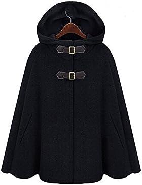 Donne batwing Cappotto Le signore Lana cappuccio mantellina Cappotti Superiore 80Store