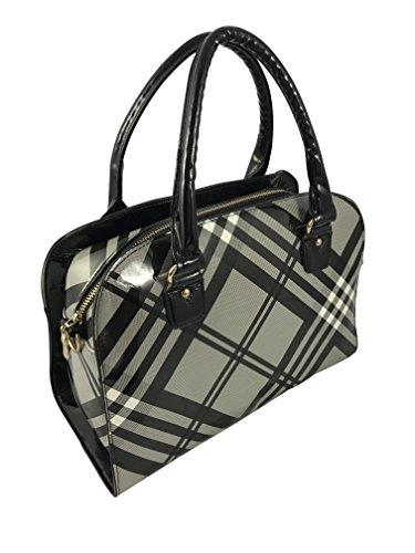 Ladies Scottish Tartan Design Handbag Available in 2 Colours New Black/Grey Tartan