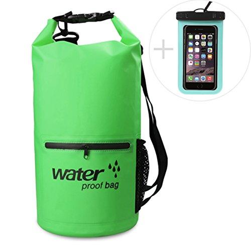 Mooedcoe 10L,20L Wasserdichte Packsäcke Verstellbarer Schultergurt Dry Bag Wasserdichte TaschenMit Wasserdichter Handytasche (Grün, 20L)