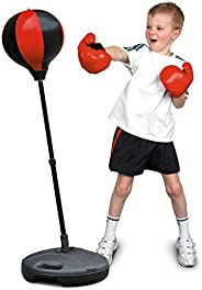 Velocity Toys Sports Boxing Punching Bag, Freestanding, with Pair of Gloves, Adjustable Height, For Kids