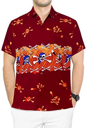 Jungen Für Hawaiian Kostüm - LA LEELA Pumkin Scary Grusel Ghosts Happy Halloween Kostüm Herren Hemd Strandhemd Hawaiihemd Kurzarm Urlaub Hemd Freizeit Reise Hemd Party Festliche Hemd Hawaii Front-Tasche Teufelhemd Rot_W157 4XL