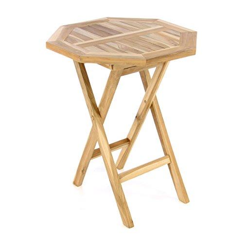 Divero unbehandelter Gartentisch Balkontisch Beistelltisch Holztisch aus Teak-Holz 8-eckig achteckig Ø 60cm