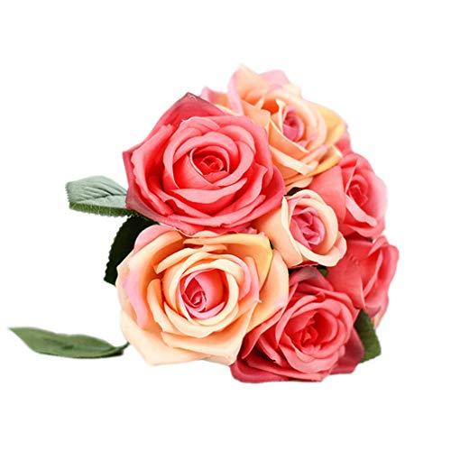 Gzzebo 1 Blumenstrauß 9 Köpfe künstliche Rose Hochzeit Party Braut Bouquet Home Garden Büro Shop Decor
