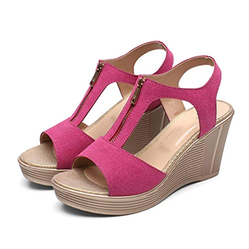 Sandalen Wildleder Peep Toe Fashion Comfort Zip Damen Plateau Sandaletten Schuhe ()