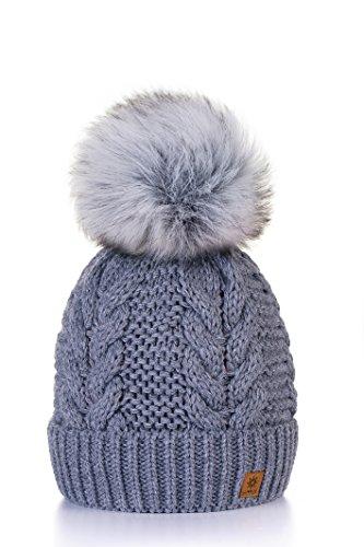 Wurm Winter Strickmütze Mütze Damen Kristalle Kiesel mit Große Bommel Pompon Fashion SKI MFAZ Morefaz Ltd (Grey)