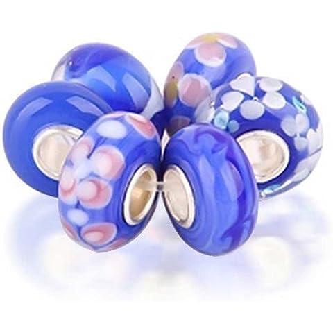 Bling Jewelry Sapphire Colore Vetro di Murano