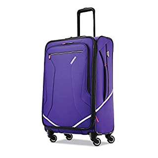 American Tourister Re-flexx Expandable Softside Checked Luggage with Spinner Wheels, Fearless Purple