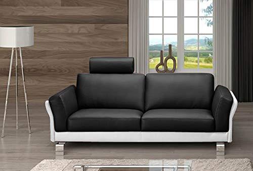 SAM Sofa Garnitur Negro, schwarz/weiß, 2-Sitzer ca. 192 cm + 3-Sitzer ca. 212 cm, pflegeleicht, Kopfstütze optional anbringbar -