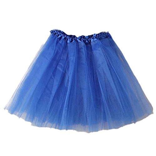 W Damen Tütü Rock Minirock Organza Pettiskirt 3 Layers Petticoat Tanzkleid dehnbaren informell Mini Skater Rock Ballettrock mit Sternchen Perfekt für Fasching (Blau) (Tutu Rock)