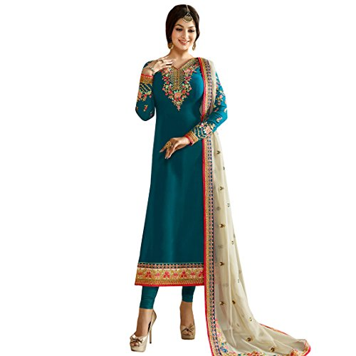 Latest Georgette Embroidered Semi-Stitched Salwar Suit