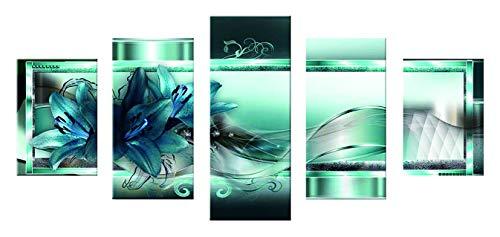 nd Art Kit 5D Diamantmalerei Vollbohrer 5 Platten (Blau-grüne Blume) ()