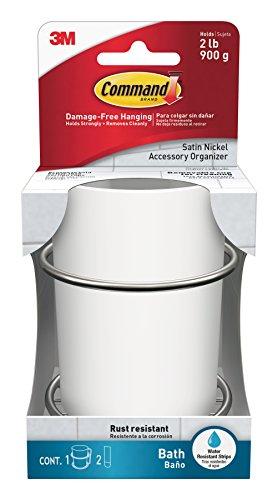 Command Bath Accessories Organiser, Satin Nickel/White, Damage-Free