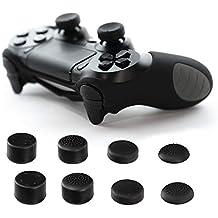 2x Paxo fundas de silicona + 4tazas de analógica/thumb grips para PS4(Playstation 4) controlador–Bundle negro Schwarz-Bundle