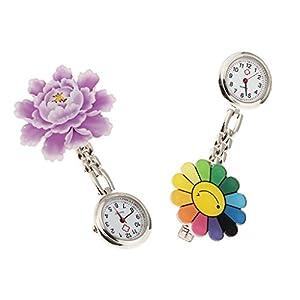 2stk Schwesternuhr Schwesternuhren Blume Muster Quarz Krankenschwester Taschenuhr mit Klammer