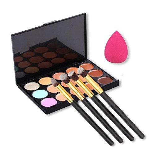 Pinceaux Maquillage Professionnel Kolylong Kit de Pinceau maquillage Professionnel 15 Couleurs Palette Correcteur Contour + 4 Pcs Poudre Pinceaux + Sponge Blender