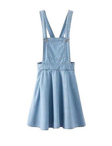 PU&PU Robe Aux femmes Ample Street Chic,Couleur Pleine A Bretelles Au dessus du genou Nylon BLUE-M
