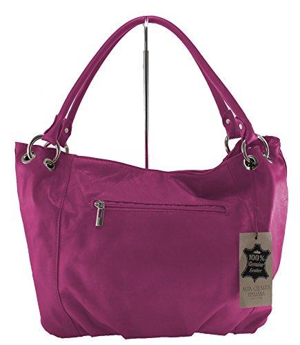 CTM femmes sac élégant avec poignées 34x30x11cm, 100% cuir Made in Italy