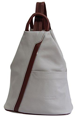 AMBRA Moda echt Leder Damenrucksack CityRucksack DayPack NL606R (Hellgrau Braun)