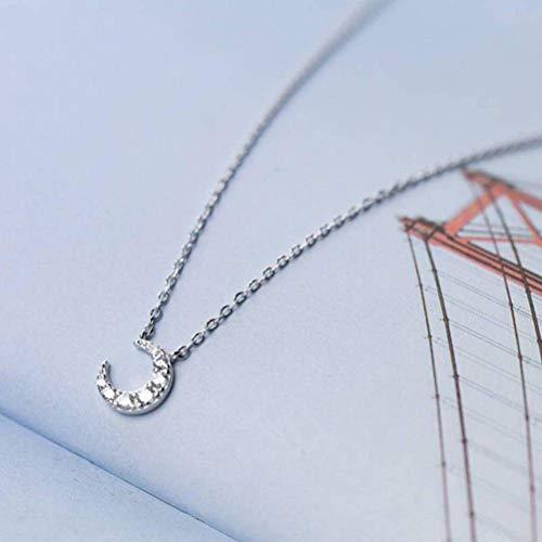 katylen - necklace S925 Silber Halskette Weiblichen Frischen Diamanten Mond Halskette Niedlichen Halbmond Bucht Kurze Schlüsselbein Kette, S925 Silver Set Chain (Diamant-halbmond Halskette)