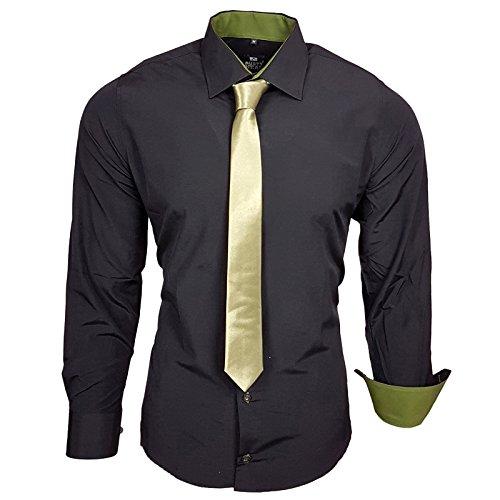 Rusty Neal Herren Kontrast Hemd Schwarz Slim Fit Black Edition mit Krawatte Schwarz / Khaki