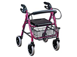 GIMA Rollator with wide seat, walking elderly aid, mobility walker withbasket and seat