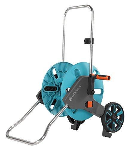 GARDENA dévidoir Aquaroll M : dévidoir sur roues d'une capacité de 60 m, particulièrement stable, avec clip de rangement, arrêt anti-goutte, côté de manivelle sélectionnable librement (18511-20)