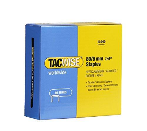 Tacwise 0381 Boîte de 10 000 agrafes galvanisées 6mm (Type 80), Argent