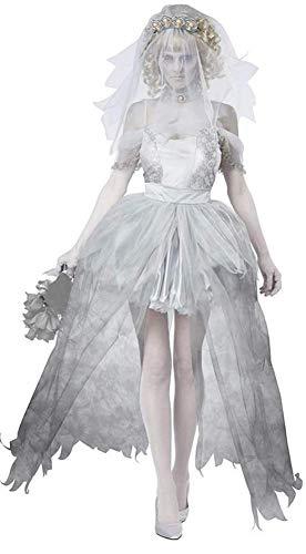 OOFAY Geisterbraut Halloween Gespenst Horror Kostüm/Damen Nonne Zombie Vampir Spitze Kleid Polyesterfaser Weihnachten/Tanzparty,W (Damen Gespenst Kostüm)