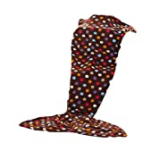 LUFA Mermaid Tail Sofa Plush Blanket Throw Bed Wrap Warm Sleeping Bag with Bow Tie Pillow coffee Wave 180*85cm