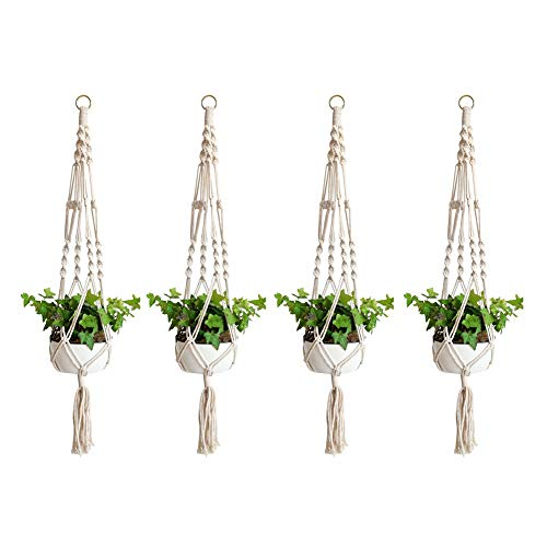 Fxhan 2/4Pcs Macrame Plant Hanger Flower Pot Plant Holder 4 Legs String Hanging Rope