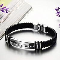 Men's handmade silver tone Titanium steel Silicone leather fashion bracelet (P805)