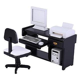 Zerodis Maßstab 1:12 Miniatur Büromöbel Set Holz Schreibtisch Computer Stuhl Drucker Puppenhaus Möbel Zubehör