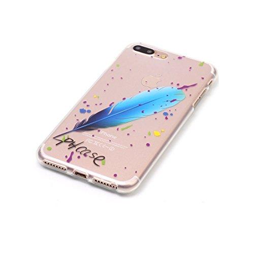 iPhone 7 Plus Custodia,iPhone 7 Plus Case,Patate piuma Custodia in TPU Gel Ultra sottile [Trasparente] Custodia protettiva in gomma flessibile case cover para for iPhone 7 Plus 5.5inch colour & 7