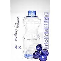 4 x TRITAN Trinkflasche - Set 0,5 Liter (rund) + 3 Standarddeckel + 3 Dichtdeckel + 2 Trinkdeckel, Made in Germany, weichmacherfrei / BPA frei durchdachtes Design, große Einfüllöffnung (33 mm), große Standfläche für sicheren Stand, leicht zu reinigen, geschirrspülfest, hohe Transparenz, leicht blau eingefärbt, lebensmittelecht, geschmacksneutral und geruchsneutral / geruchsfrei