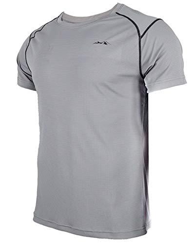 Herren T-Shirt Sportshirt Fitnessshirt Atmungsaktiv Gym Shirt Lauf Shirt Training Running Shirt Schnell Trocknend Kurzarmshirt für Männer (Grau-6,XL) (Wander-lauf-t-shirt)