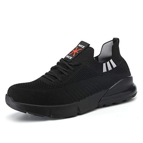 Ulogu Sicherheitsschuhe Herren Arbeitsschuhe Damen Leicht Atmungsaktiv Schutzschuhe Stahlkappe Sneaker Wanderschuhe, Black, 38 EU