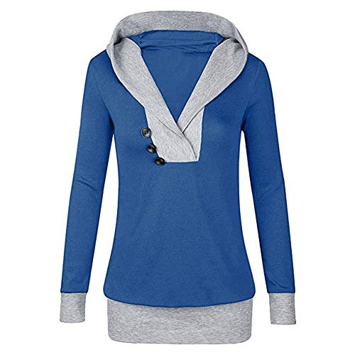 CICIYONER Frauen Langarm mit Kapuze mit Knopf Sweatshirt Casual Tops Shirt M-XXL