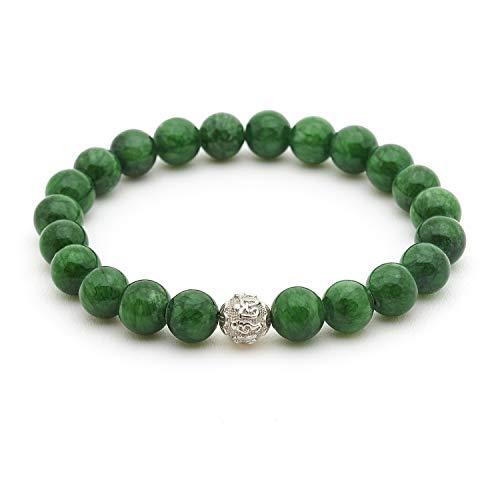 Echtes Jade Armband - Glücksbringer mit Naturstein Perlen und 925 Sterling Silberperle