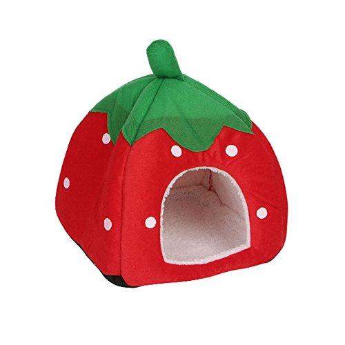 Katzenhöhle von Autone in Erdbeer-Form, weicher Schaumstoff, Höhle für Katzen, Hunde und kleine Haustiere, rot, Large