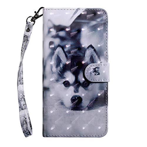 vingarshern Hülle für DOOGEE Y300 Schutzhülle Tasche Etui Klappbares Magnetverschluss Lederhülle Flip Case Handytasche Doogee Y300 Hülle Leder Brieftasche MEHRWEG(Husky)