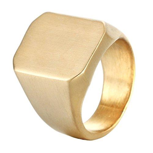 Daesar Titan Herren Ring Titanringe Gold Hochglanzpoliert Rechteck Glatt Breite 18 MM Gothic Punk Ring Partnerring Gr.60 (19.1)
