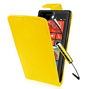 SUPERGETS® HTC 8X Window Phone Premium Yellow Flip case, Screen Protector,Touch Screen Stylus And Polishing Cloth