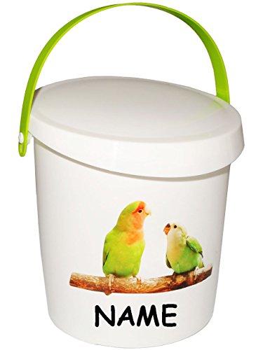 """Preisvergleich Produktbild Futterdose / Futterbox - """" Vögel & Wellensittiche / Papagei """" - incl. Name - für Tierfutter - Kleintierfutter - 2 Liter - Vorratsdose / Aufbewahrungsbox - aus Kunststoff / Dose - Kiste mit Deckel und Tragegriff - Box & Kiste - Haustiere - Tierfutterdose - Trockenfutter / Behälter - Plastikdose - Aufbewahrung - Vogelfutter"""