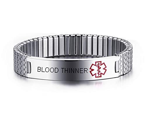 Mealguet Jewelry Free Engraving-Unisex avviso Medico in Acciaio Inox ID Stretch allergia Braccialetto per Uomini e Donne e Blood THINNER, Colore: Silver-Medium-7'