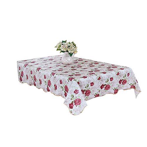 KDSANSO Kunststoff Tischdecke, Abwaschbar Tischtuch Dekorative Staubdichte Tafeldecke Wachstuch | Geeignet für Garten Esstisch, Couchtisch, quadratischer und runder Tisch, (Blume D) 152cm