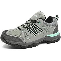 Knixmax-Zapatillas de Montaña de Mujer, Zapatillas de Senderismo Deportivo Calzado de Trekking Escalada Outdoor Zapatos Low-Top Impermeable Antideslizante para Paseos Viajes EU39 (UK6) Gris Verde