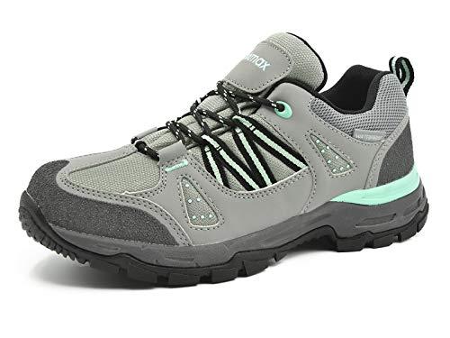 Knixmax Damen Wanderschuhe Sport Hiking Schuhe Outdoor Anti-Rutsch-Sohle Wasserdicht Trekking-Wanderhalbschuhe, 37 EU, Grau-grün