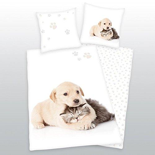 Schwanberg Bettwäsche Fashion Experts Animal Weiß Hunde 135x200 Cm + 80x80 Cm Hohe QualitäT Und Preiswert