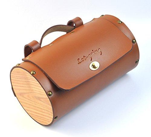 lindrische Sitz Sattel Front Griff Bar Bag Packs Schwarz Braun (Braun - Leder) ()